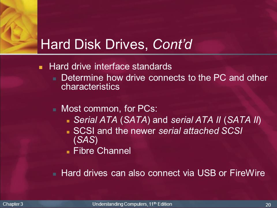 20 Chapter 3 Understanding Computers, 11 th Edition Hard Disk Drives, Contd Hard drive interface standards Determine how drive connects to the PC and