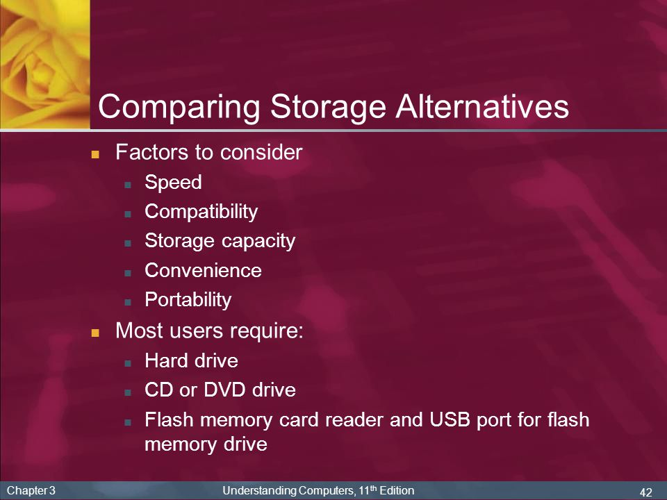 42 Chapter 3 Understanding Computers, 11 th Edition Comparing Storage Alternatives Factors to consider Speed Compatibility Storage capacity Convenienc