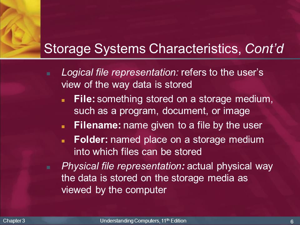 37 Chapter 3 Understanding Computers, 11 th Edition Other Types of Storage Systems Remote storage (using a storage device directly a part of the PC being used) Network storage: accessible through a local network Online storage: accessed via the Internet and used for Backup Transferring files to others or to another PC Sharing files with others (online photo sites, etc.)