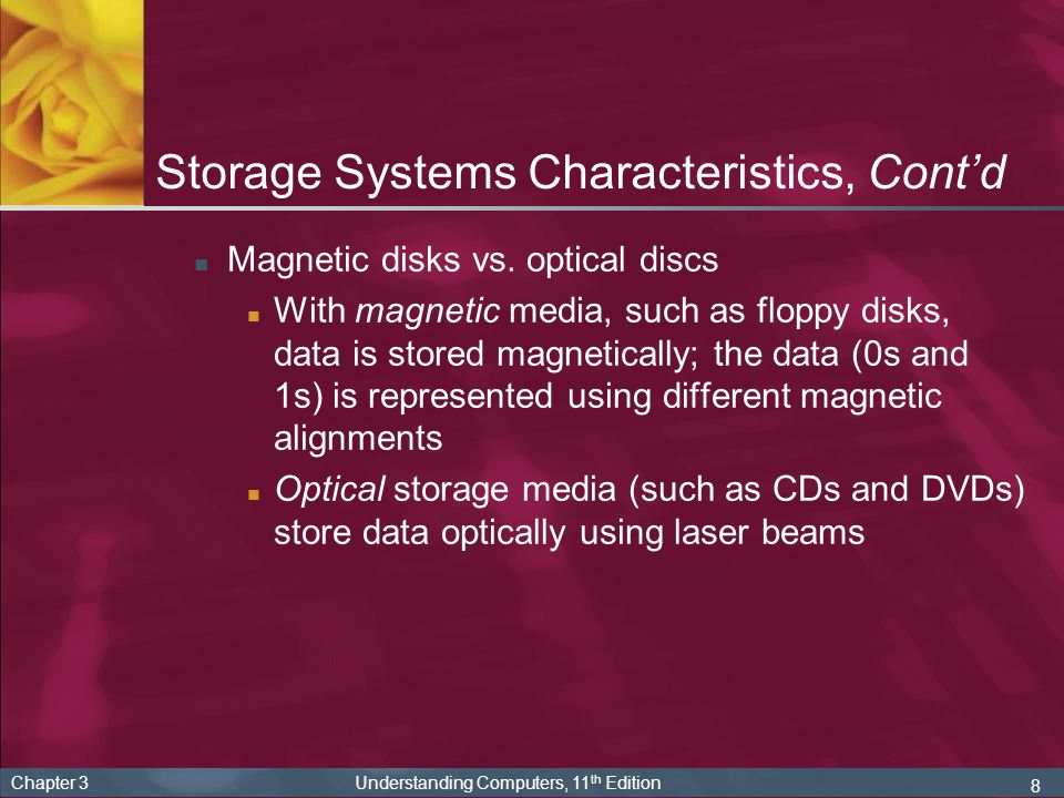 9 Chapter 3 Understanding Computers, 11 th Edition Magnetic Disk Systems Magnetic disk: storage medium that records data using magnetic spots on disks made of flexible plastic or rigid metal Most widely used storage medium on todays computers Two common types: Floppy disks (common removable storage medium in the past; not widely used today) Hard disks (included on nearly all PCs today)