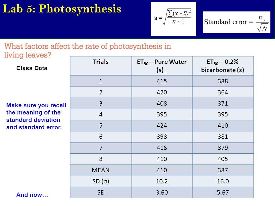 Lab 5: Photosynthesis Class Data TrialsET 50 – Pure Water (s)_ ET 50 – 0.2% bicarbonate (s) 1415388 2420364 3408371 4395 5424410 6398381 7416379 84104