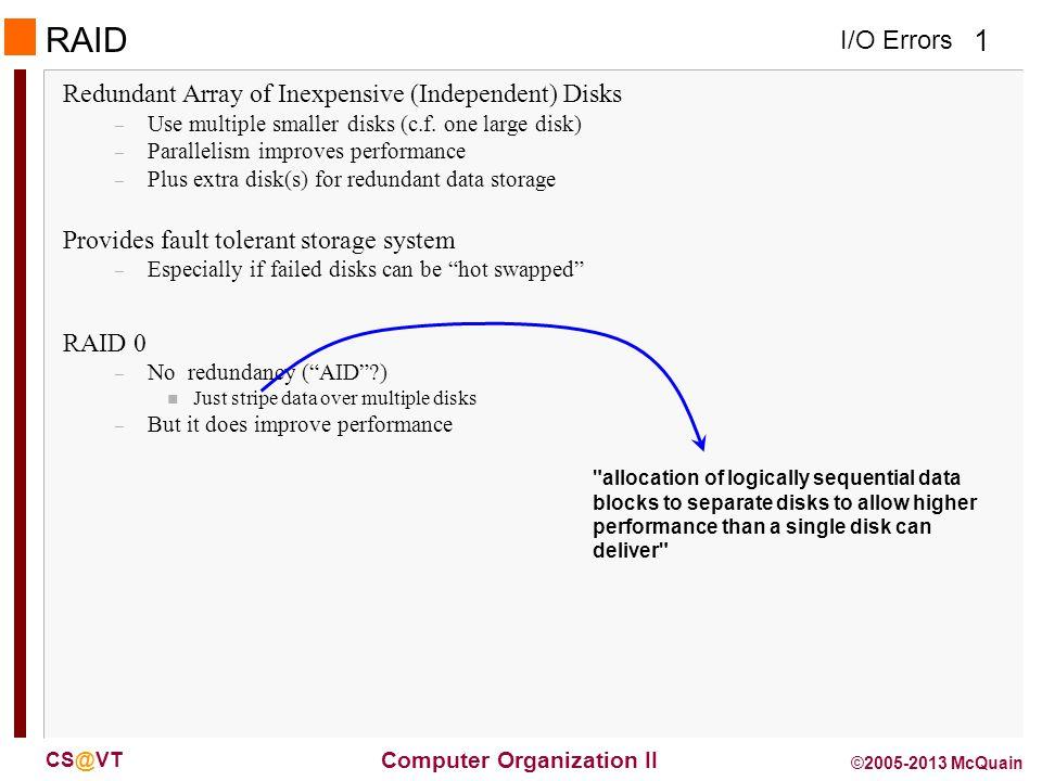I/O Errors 2 Computer Organization II CS@VT ©2005-2013 McQuain RAID 1 & 2 RAID 1: Mirroring – N + N disks, replicate data n Write data to both data disk and mirror disk n On disk failure, read from mirror RAID 2: Error correcting code (ECC) – N + E disks (e.g., 10 + 4) – Split data at bit level across N disks – Generate E-bit ECC – Too complex, not used in practice (for disks, but…)