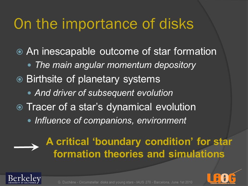On the importance of disks An inescapable outcome of star formation The main angular momentum depository Birthsite of planetary systems And driver of subsequent evolution Tracer of a stars dynamical evolution Influence of companions, environment G.