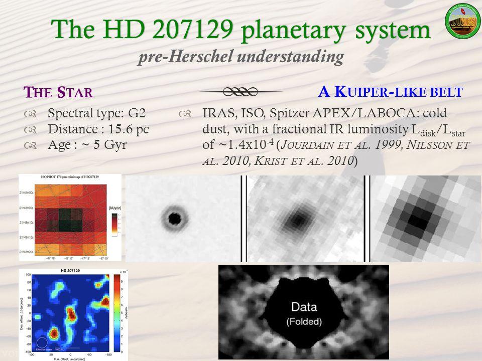 The HD 207129 planetary systemThe HD 207129 planetary system pre-Herschel understanding A K UIPER - LIKE BELT IRAS, ISO, Spitzer APEX/LABOCA: cold dust, with a fractional IR luminosity L disk /L star of ~1.4x10 -4 ( J OURDAIN ET AL.