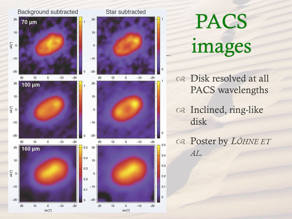 PACS images Disk resolved at all PACS wavelengths Inclined, ring-like disk Poster by L ÖHNE ET AL.