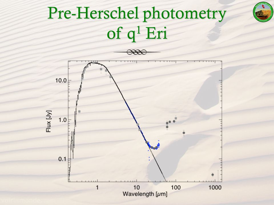 Pre-Herschel photometry of q 1 Eri