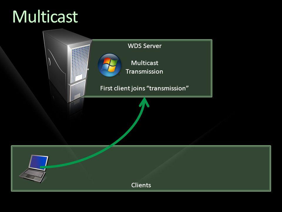 Clients Multicast WDS Server Multicast Transmission First client joins transmission