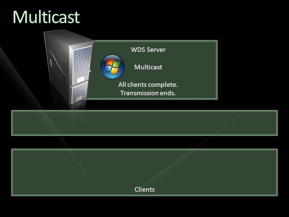 Clients WDS Server Multicast All clients complete. Transmission ends. Multicast