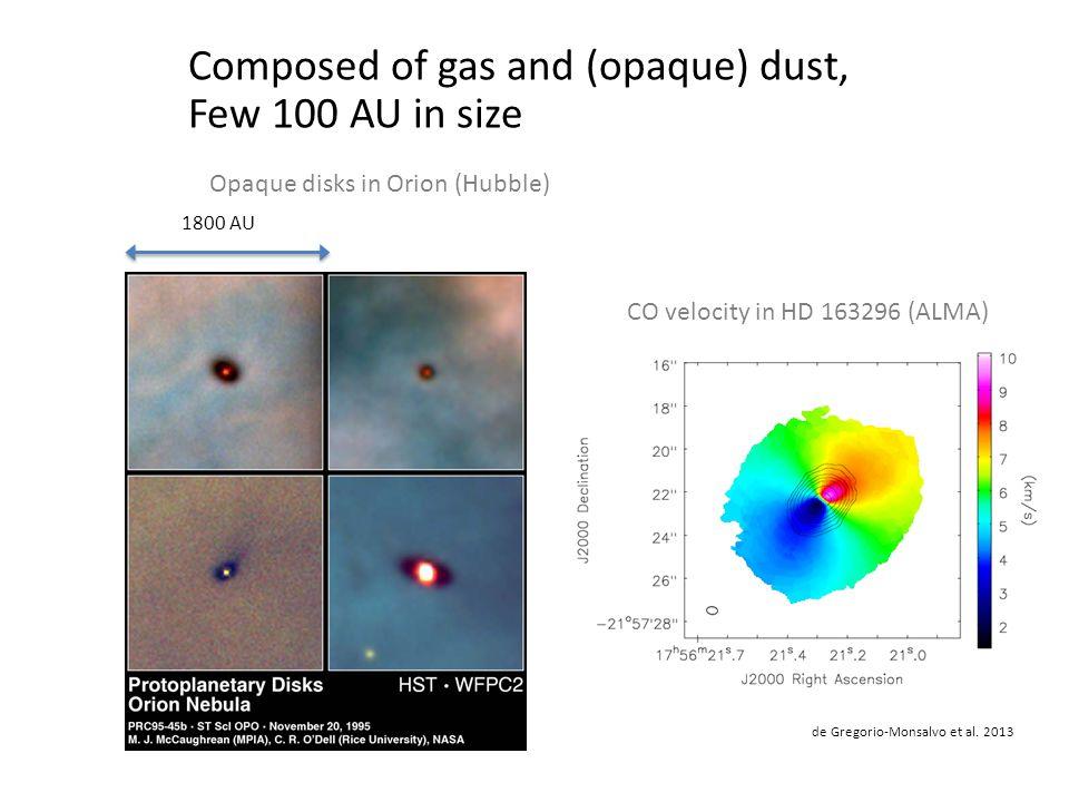 Composed of gas and (opaque) dust, Few 100 AU in size CO velocity in HD 163296 (ALMA) de Gregorio-Monsalvo et al.