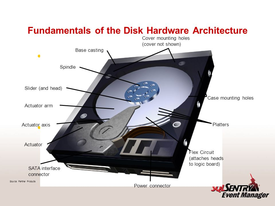 Fundamentals of the Disk Hardware Architecture Adapted from a much more in- depth white paper called Disk Partition Alignment Best Practices for SQL Server by Jimmy May and Denny Lee Available at http://sqlcat.com/whitepapers/ar chive/2009/05/11/disk-partition- alignment-best-practices-for-sql- server.aspx http://sqlcat.com/whitepapers/ar chive/2009/05/11/disk-partition- alignment-best-practices-for-sql- server.aspx Base casting Spindle Slider (and head) Actuator arm Actuator axis Actuator SATA interface connector Power connector Flex Circuit (attaches heads to logic board) Source: Panther Products Platters Case mounting holes Cover mounting holes (cover not shown)