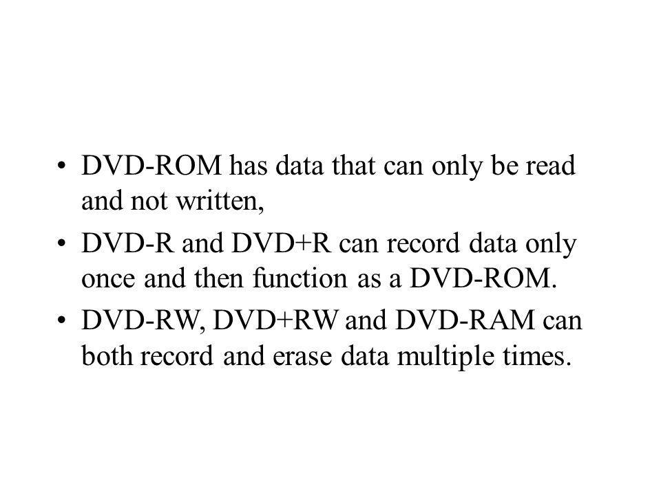 DVD-ROM has data that can only be read and not written, DVD-R and DVD+R can record data only once and then function as a DVD-ROM.