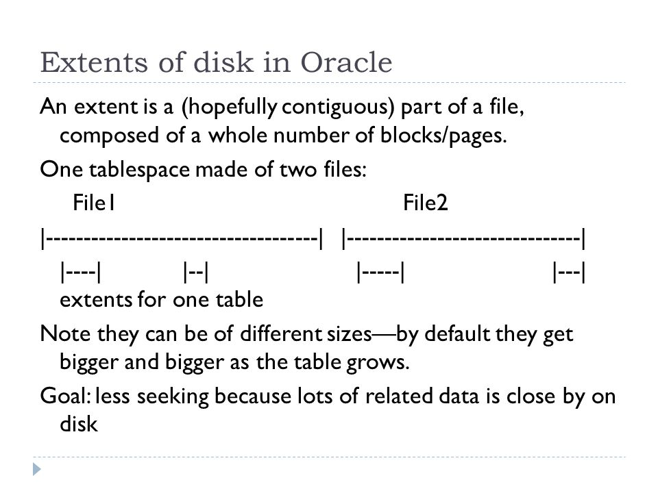 Extents of disk in Oracle An extent is a (hopefully contiguous) part of a file, composed of a whole number of blocks/pages.