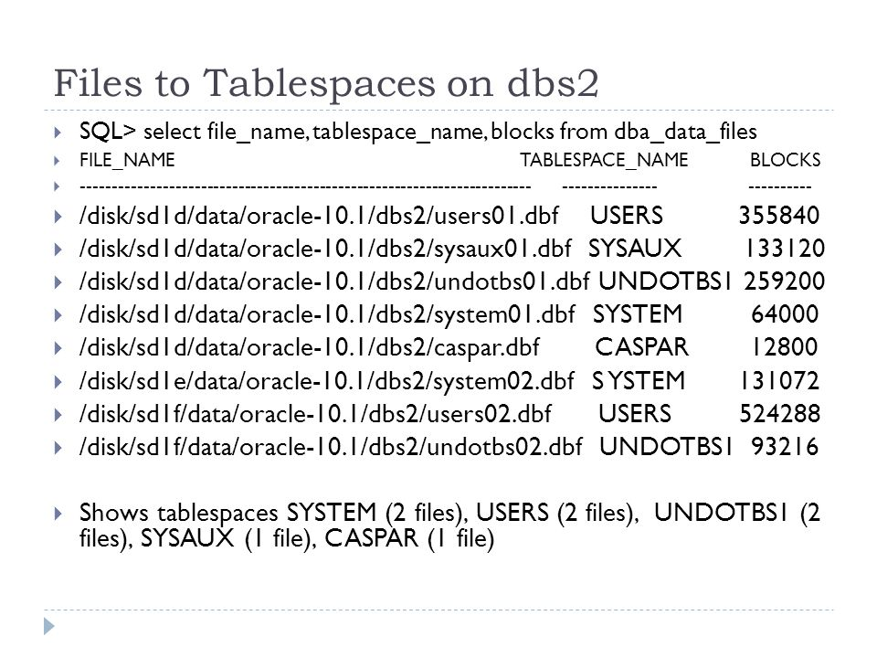 Files to Tablespaces on dbs2 SQL> select file_name, tablespace_name, blocks from dba_data_files FILE_NAME TABLESPACE_NAME BLOCKS ------------------------------------------------------------------------ --------------- ---------- /disk/sd1d/data/oracle-10.1/dbs2/users01.dbf USERS 355840 /disk/sd1d/data/oracle-10.1/dbs2/sysaux01.dbf SYSAUX 133120 /disk/sd1d/data/oracle-10.1/dbs2/undotbs01.dbf UNDOTBS1 259200 /disk/sd1d/data/oracle-10.1/dbs2/system01.dbf SYSTEM 64000 /disk/sd1d/data/oracle-10.1/dbs2/caspar.dbf CASPAR 12800 /disk/sd1e/data/oracle-10.1/dbs2/system02.dbf S YSTEM 131072 /disk/sd1f/data/oracle-10.1/dbs2/users02.dbf USERS 524288 /disk/sd1f/data/oracle-10.1/dbs2/undotbs02.dbf UNDOTBS1 93216 Shows tablespaces SYSTEM (2 files), USERS (2 files), UNDOTBS1 (2 files), SYSAUX (1 file), CASPAR (1 file)