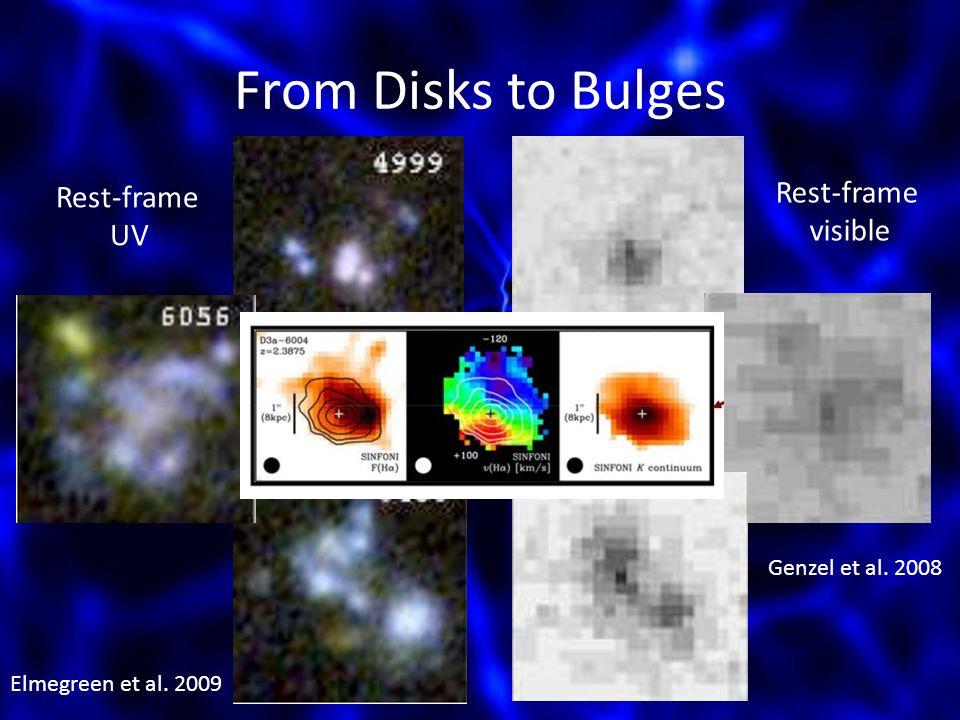 From Disks to Bulges Elmegreen et al. 2009 Genzel et al. 2008 Rest-frame UV Rest-frame visible