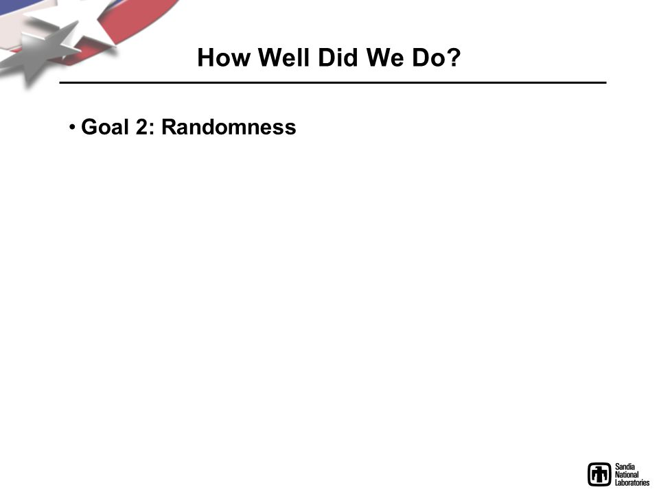 How Well Did We Do Goal 2: Randomness