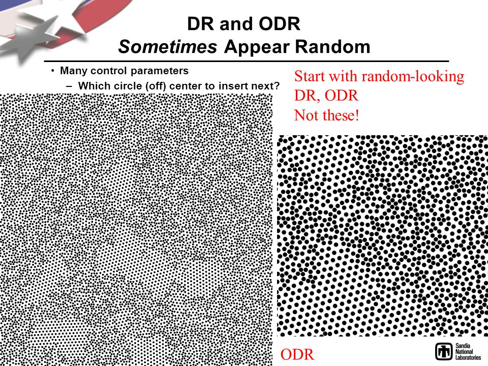 DR and ODR Sometimes Appear Random Many control parameters –Which circle (off) center to insert next? Start with random-looking DR, ODR Not these! ODR