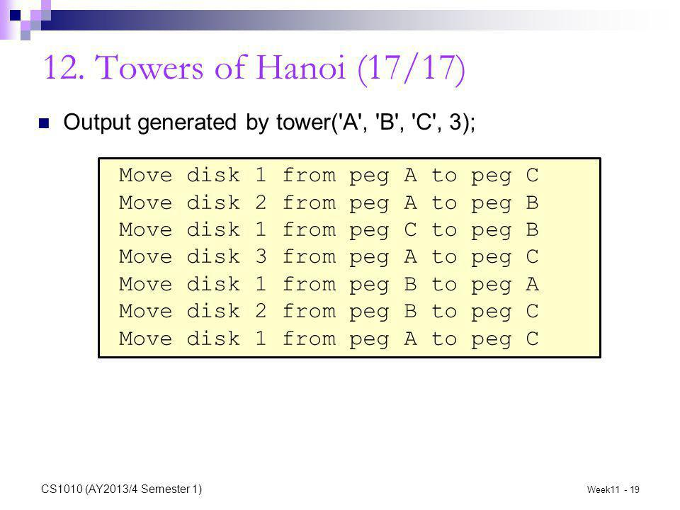 12. Towers of Hanoi (17/17) Output generated by tower('A', 'B', 'C', 3); Move disk 1 from peg A to peg C Move disk 2 from peg A to peg B Move disk 1 f