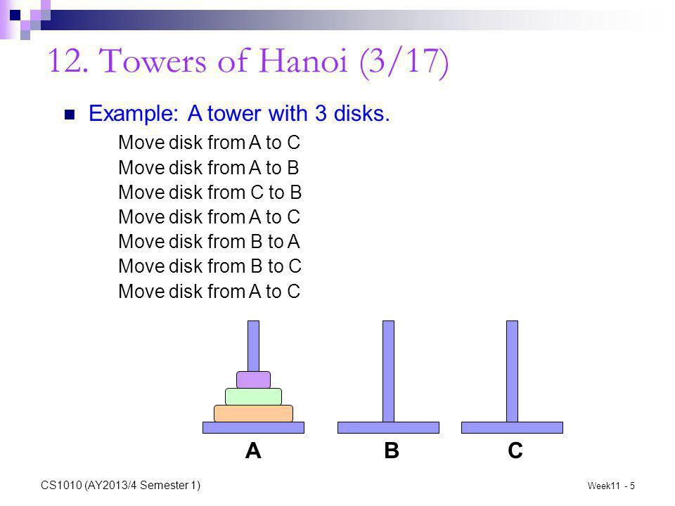 12. Towers of Hanoi (3/17) Example: A tower with 3 disks.