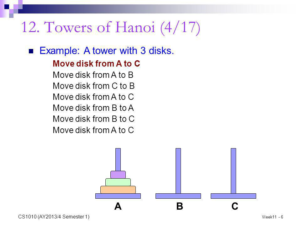 12. Towers of Hanoi (4/17) Example: A tower with 3 disks.