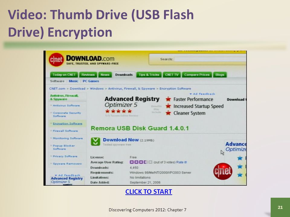Video: Thumb Drive (USB Flash Drive) Encryption Discovering Computers 2012: Chapter 7 21 CLICK TO START