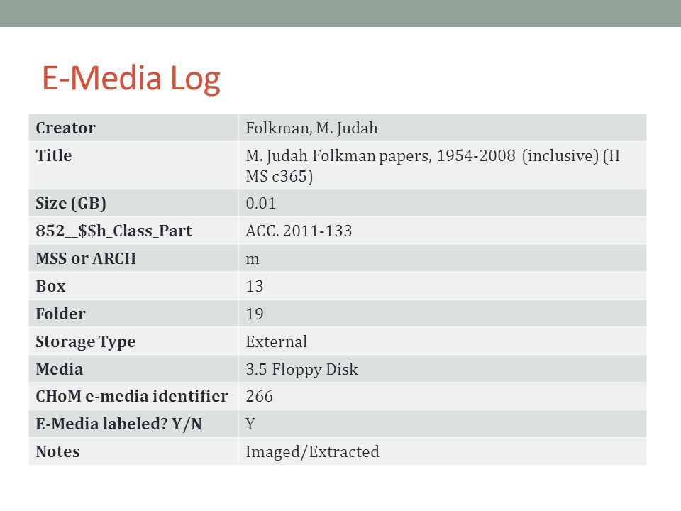 E-Media Log CreatorFolkman, M. Judah TitleM.