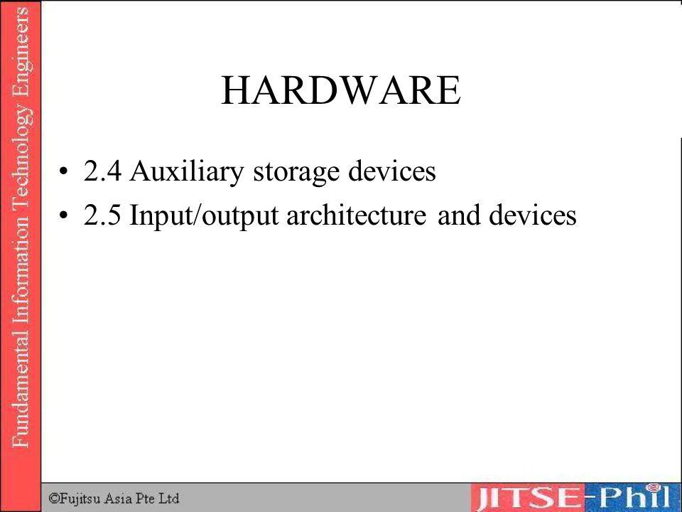 HARDWARE 2.4 Auxiliary storage devices 2.5 Input/output architecture and devices