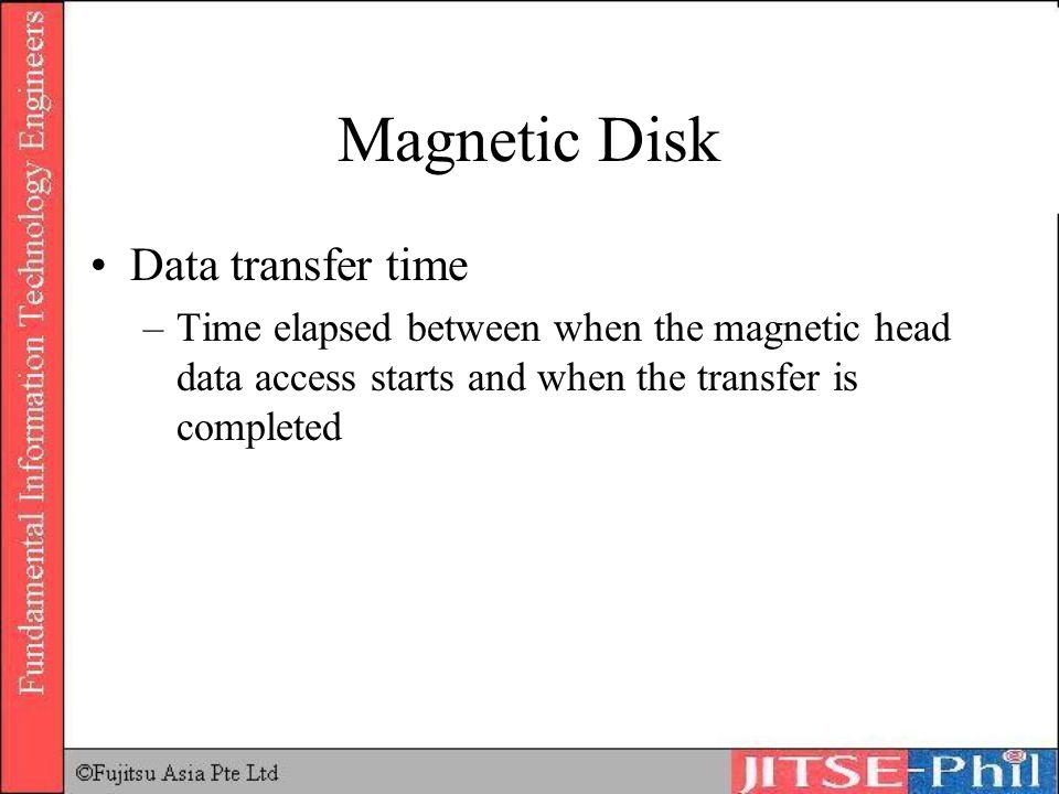 Magnetic Disk Data transfer time –Time elapsed between when the magnetic head data access starts and when the transfer is completed