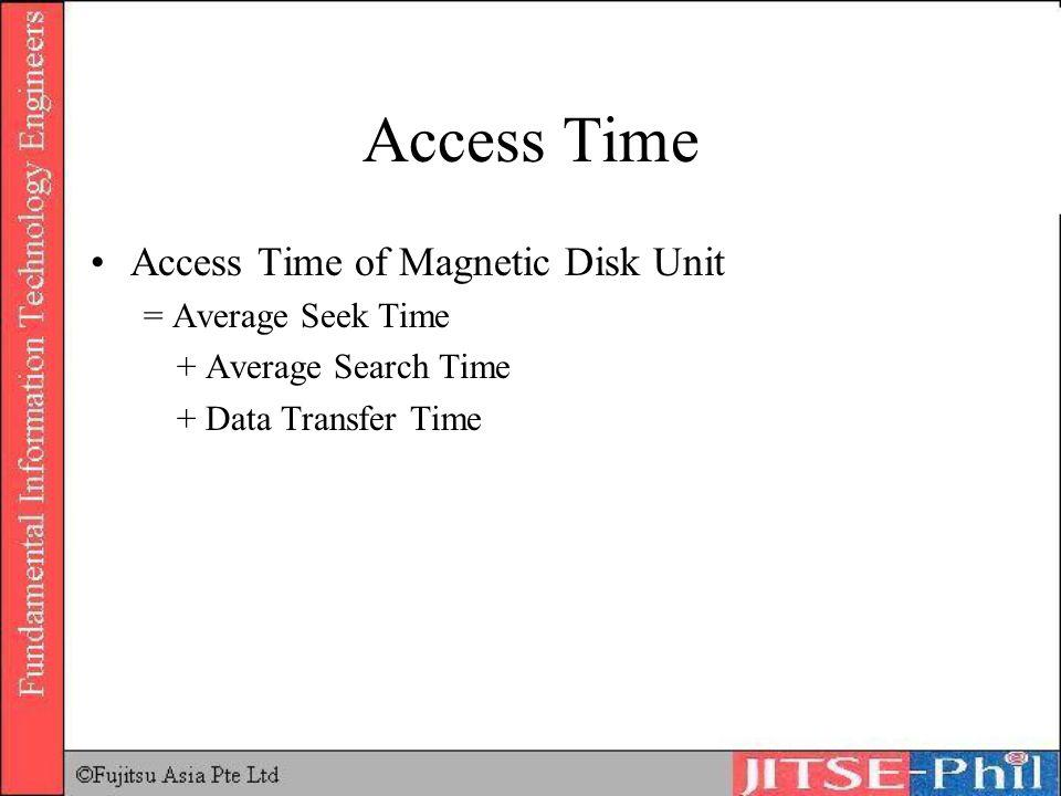 Access Time Access Time of Magnetic Disk Unit = Average Seek Time + Average Search Time + Data Transfer Time
