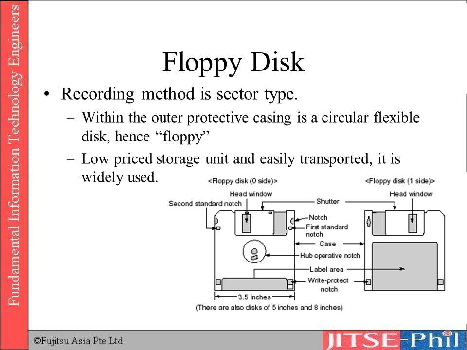 Floppy Disk Recording method is sector type. –Within the outer protective casing is a circular flexible disk, hence floppy –Low priced storage unit an