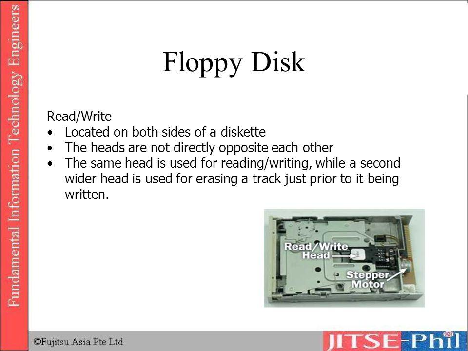 Floppy Disk Read/Write Located on both sides of a diskette The heads are not directly opposite each other The same head is used for reading/writing, w