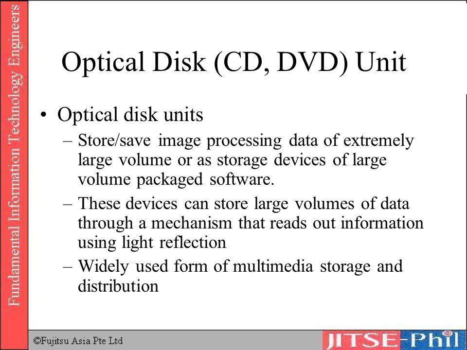 Optical Disk (CD, DVD) Unit Optical disk units –Store/save image processing data of extremely large volume or as storage devices of large volume packa