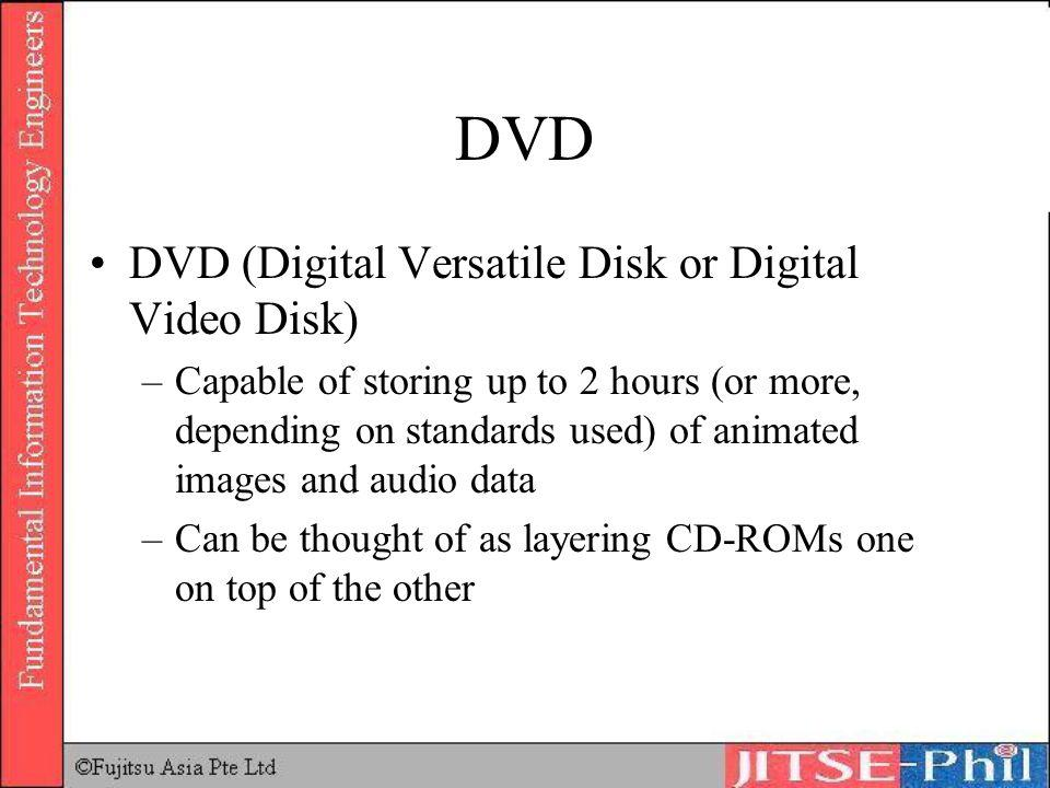 DVD DVD (Digital Versatile Disk or Digital Video Disk) –Capable of storing up to 2 hours (or more, depending on standards used) of animated images and