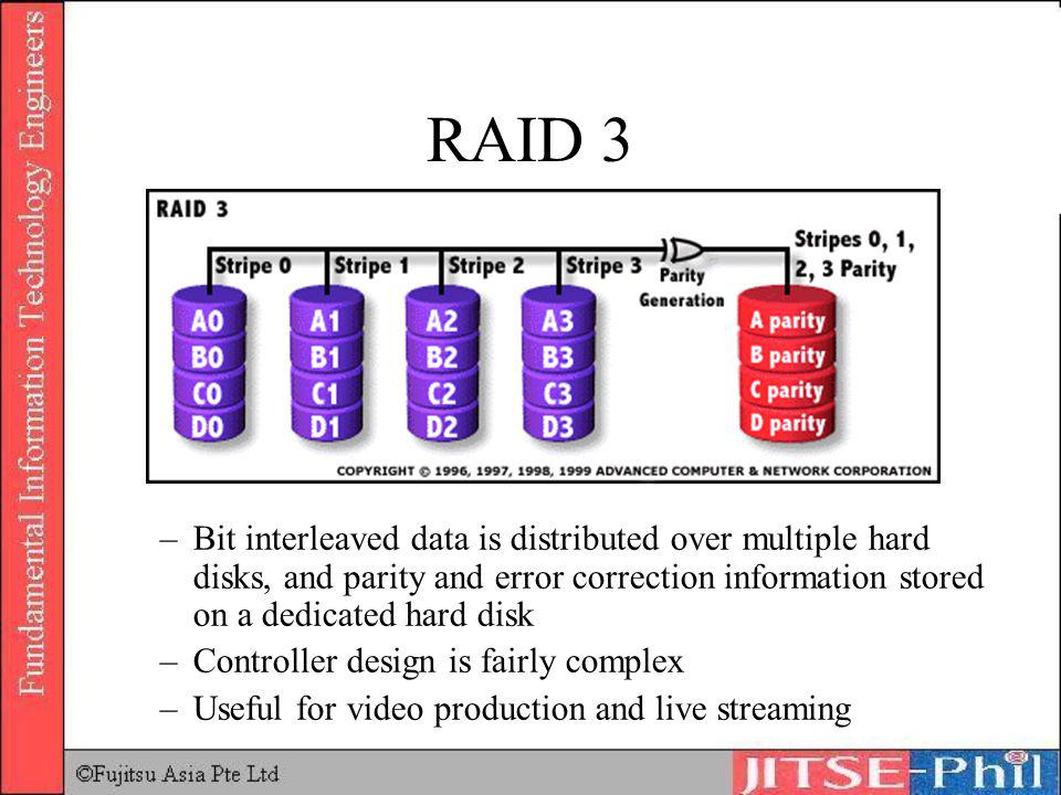 RAID 3 –Bit interleaved data is distributed over multiple hard disks, and parity and error correction information stored on a dedicated hard disk –Con