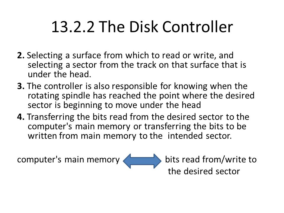 13.2.2 The Disk Controller 2. Selecting a surface from which to read or write, and selecting a sector from the track on that surface that is under the