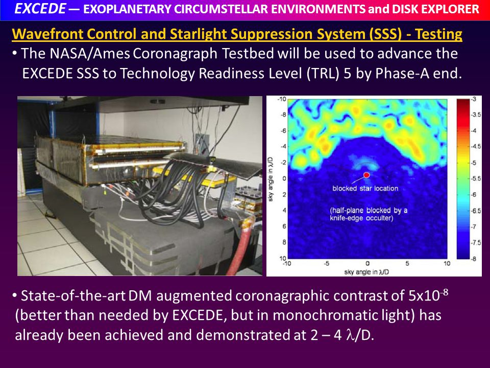 EXCEDE EXOPLANETARY CIRCUMSTELLAR ENVIRONMENTS and DISK EXPLORER Wavefront Control and Starlight Suppression System (SSS) - Testing The NASA/Ames Coronagraph Testbed will be used to advance the EXCEDE SSS to Technology Readiness Level (TRL) 5 by Phase-A end.