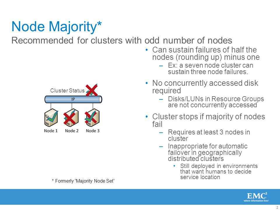 2 Node Majority* Can sustain failures of half the nodes (rounding up) minus one –Ex: a seven node cluster can sustain three node failures.