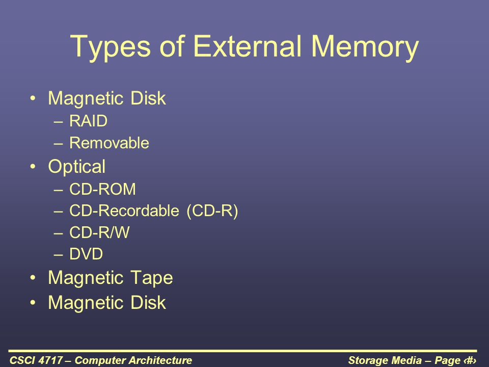 Storage Media – Page 2CSCI 4717 – Computer Architecture Types of External Memory Magnetic Disk –RAID –Removable Optical –CD-ROM –CD-Recordable (CD-R)