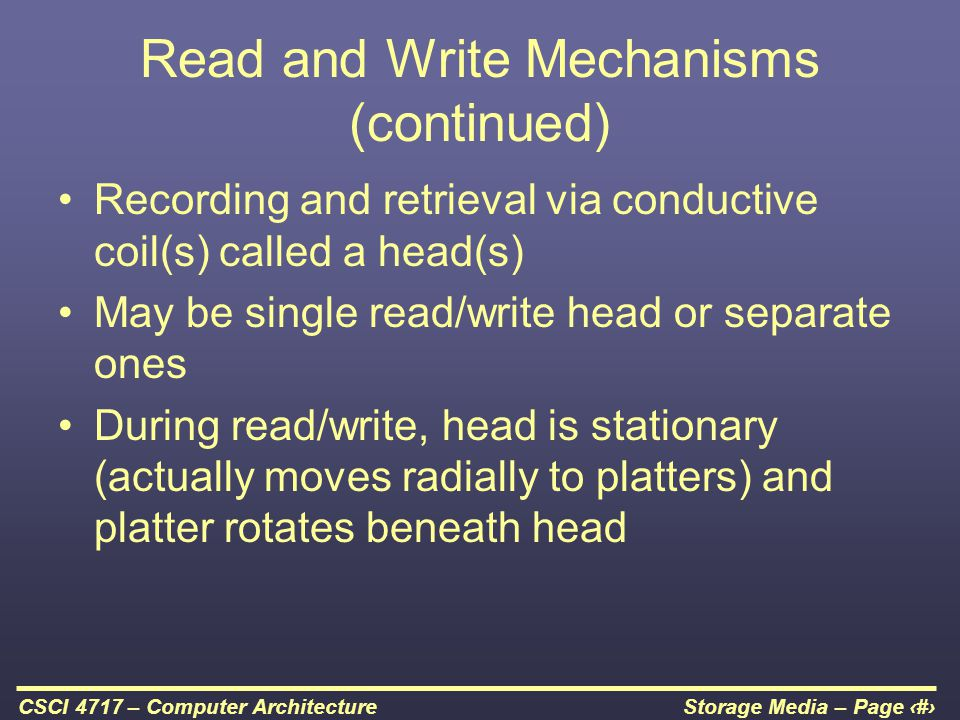 Storage Media – Page 5CSCI 4717 – Computer Architecture Read and Write Mechanisms (continued) Recording and retrieval via conductive coil(s) called a