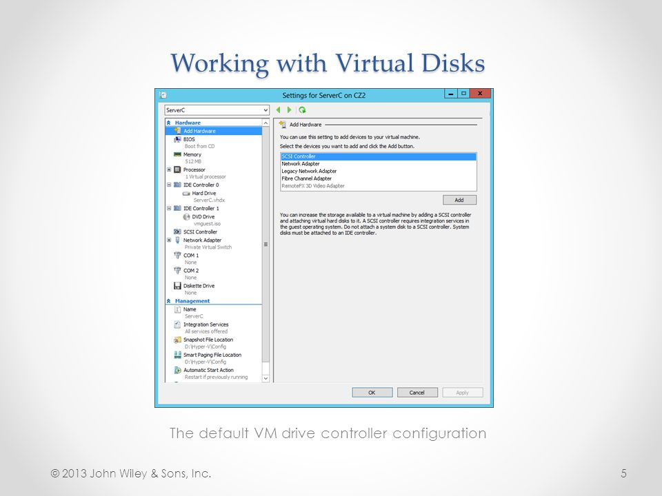 Mount a Virtual Hard Disk The Disk Management snap-in © 2013 John Wiley & Sons, Inc.26