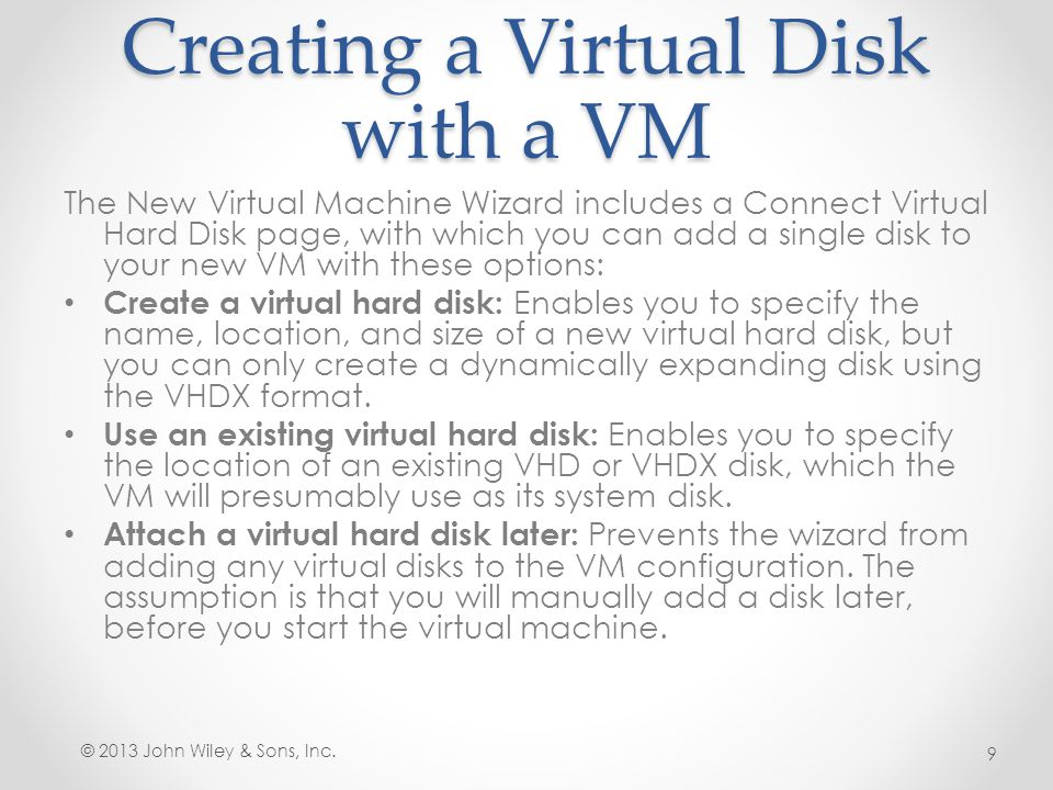 Configuring Pass- Through Disks A pass-through disk is a type of virtual disk that points not to an area of space on a physical disk, but to a physical disk drive itself, installed on the host computer.