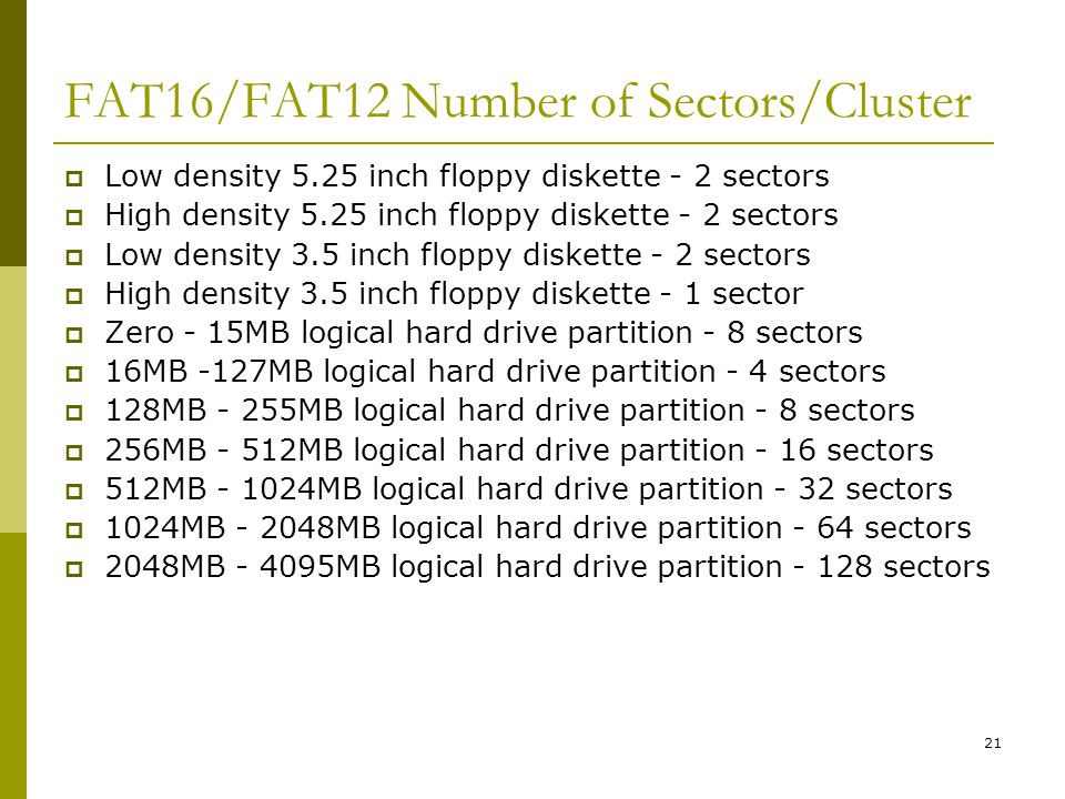 BIS@DSU 21 FAT16/FAT12 Number of Sectors/Cluster Low density 5.25 inch floppy diskette - 2 sectors High density 5.25 inch floppy diskette - 2 sectors