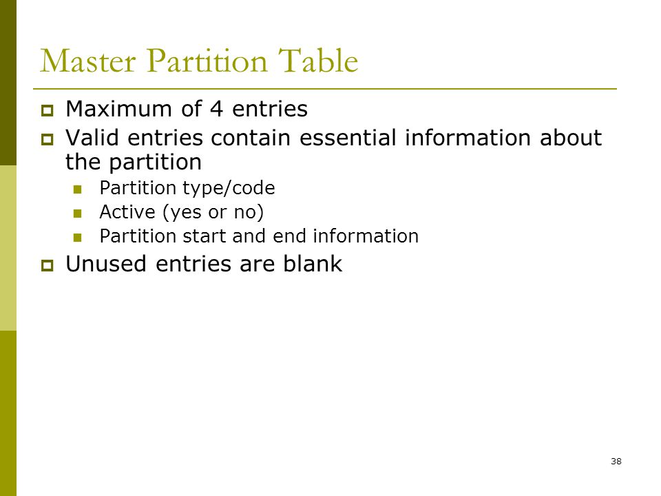 BIS@DSU 38 Master Partition Table Maximum of 4 entries Valid entries contain essential information about the partition Partition type/code Active (yes