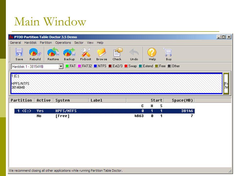 BIS@DSU 55 Main Window