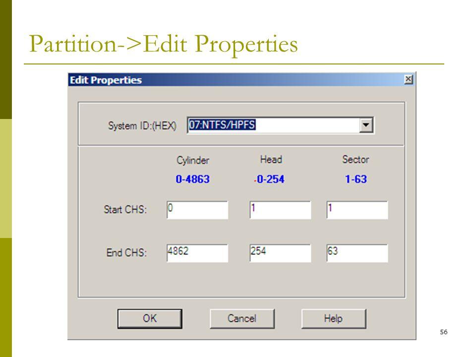 BIS@DSU 56 Partition->Edit Properties
