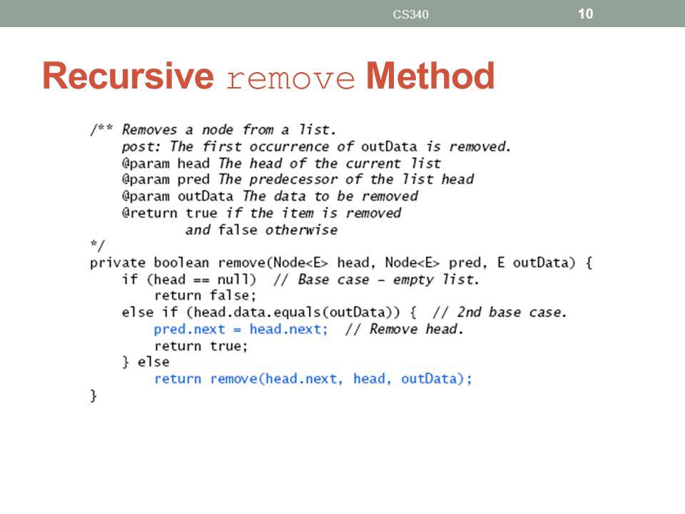 Recursive remove Method CS340 10