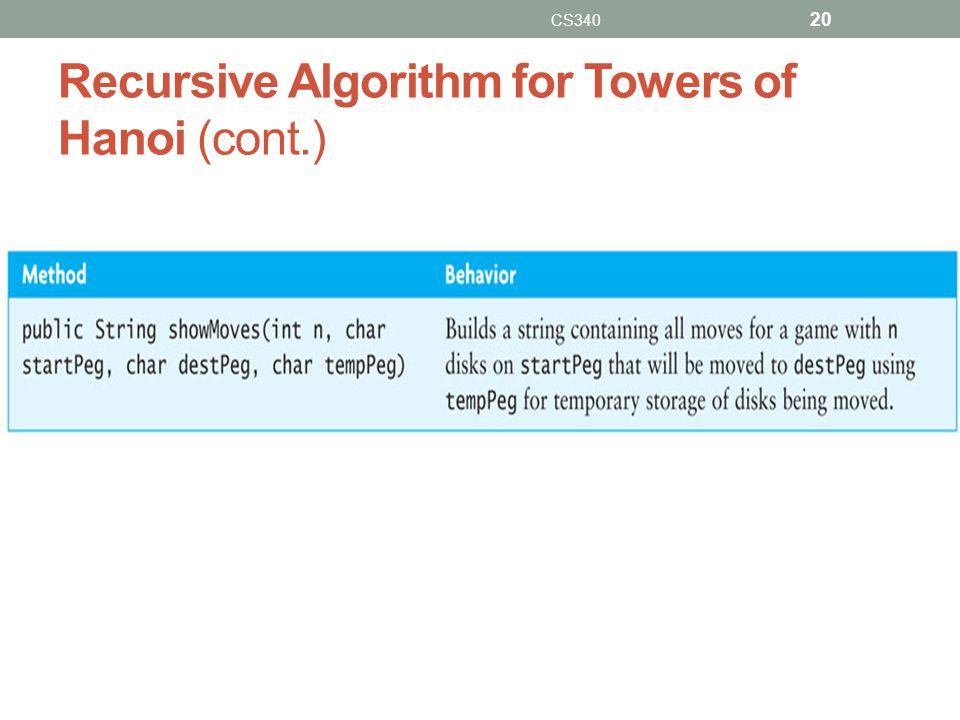 Recursive Algorithm for Towers of Hanoi (cont.) CS340 20