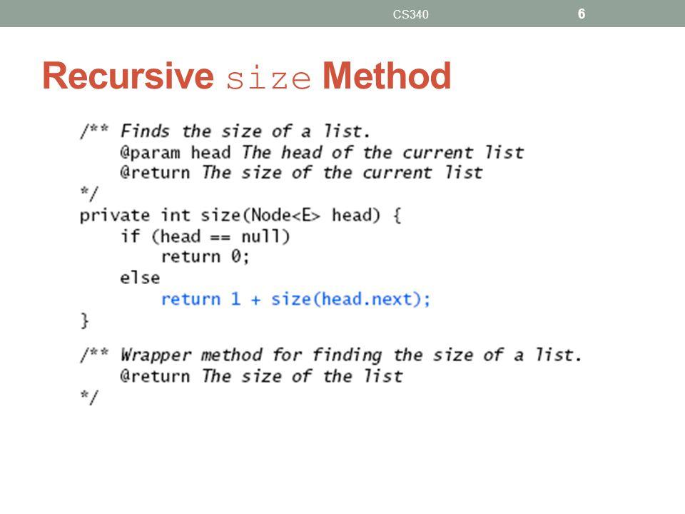 Recursive size Method CS340 6