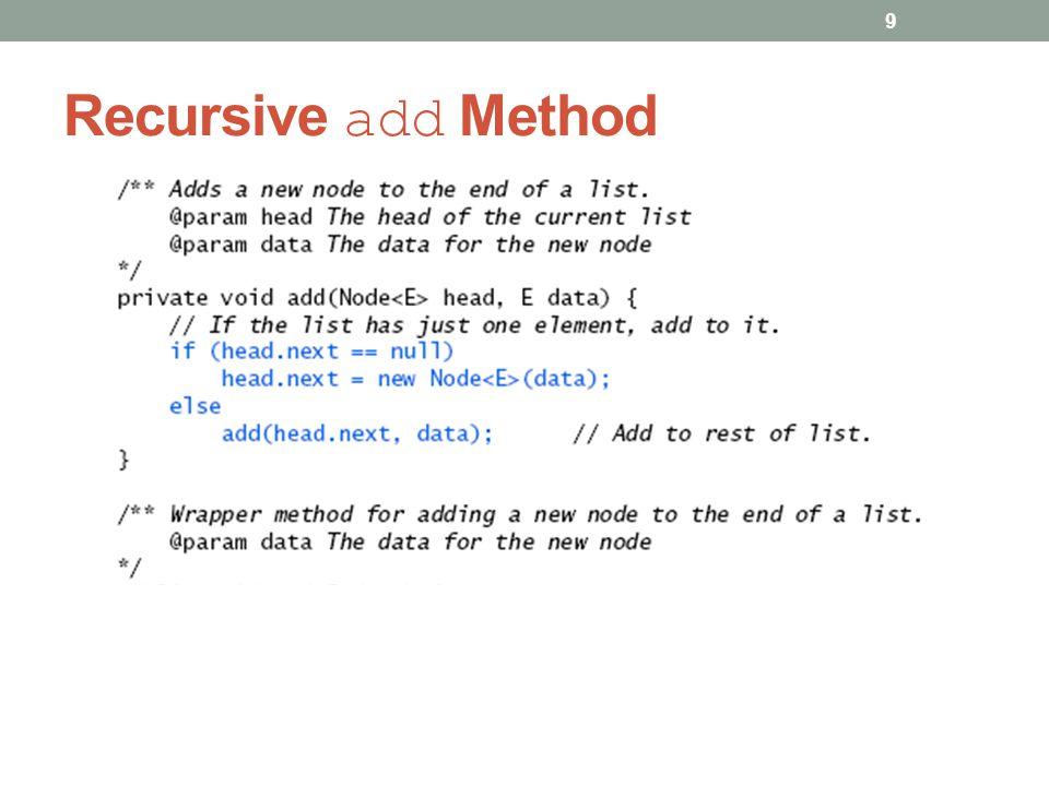 Recursive add Method 9