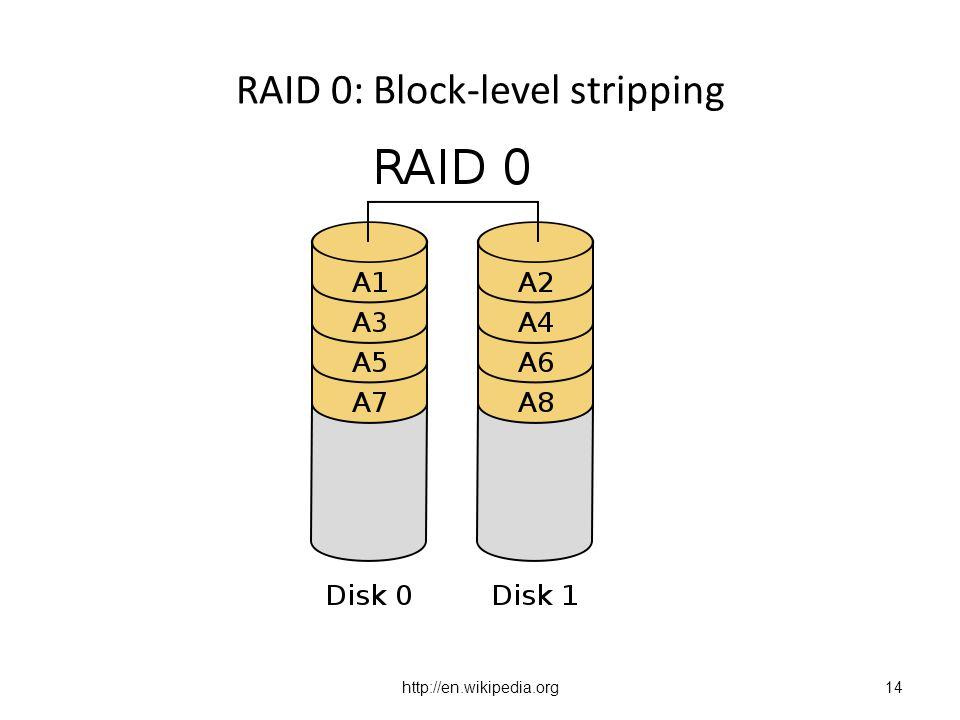 http://en.wikipedia.org RAID 0: Block-level stripping 14
