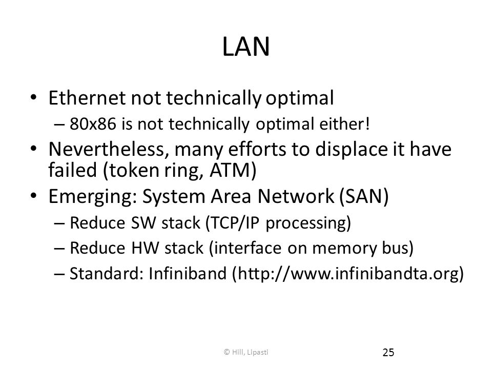 © Hill, Lipasti 25 LAN Ethernet not technically optimal – 80x86 is not technically optimal either.